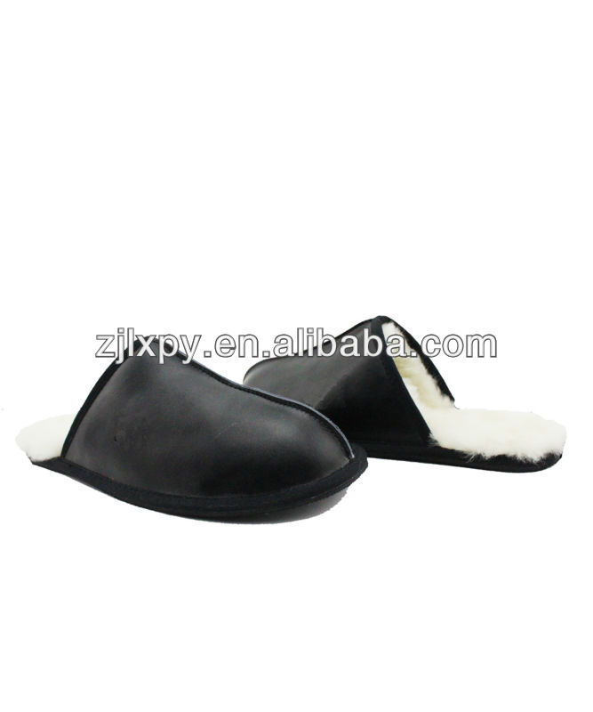 Classic Mens Leather Scuff Slippers