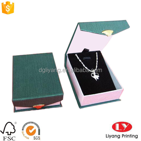 High quality necklace display and packaging jewelry box with velvet foam inserts necklace display and packaging