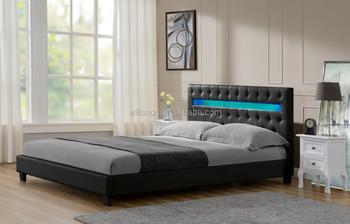 european chesterfield point design king size upholstered headboard led pu bed frame 1107 1 - European Bed Frame