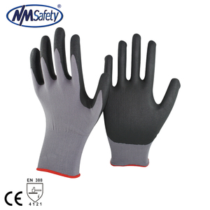 NMSAFETY 15 gauge black foam nitrile nylon liner assembly work gloves