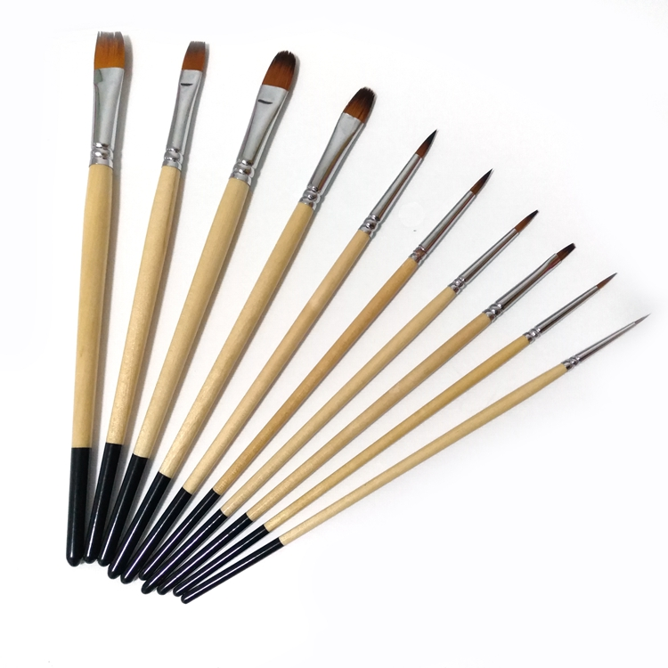 10 pcs Multi-Tip Acrylic Brush Set with Chrome Plated Brass Ferrule for Watercolor Painting