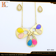 Wholesale Fashion Colorful Resin Necklace Jewelry Set Stainless Steel For Girl