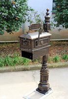 Contemporary Decorative Cast Aluminum Better Box Mailbox with Paper Box Antique Bronze Finish