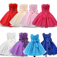 Girls Flower Wedding Dresses Bridesmaid Dress Party Rose Bow Dress Beauty Princess For Kids QGD-1643
