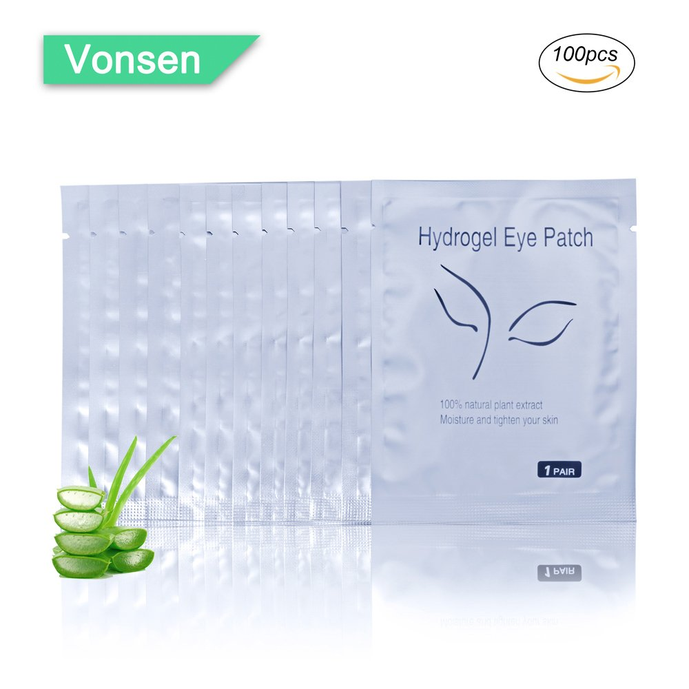 100 Pairs Set Under Eye Pads, Comfy and Cool Under Eye Patches Gel Pad for Eyelash Extensions Eye Mask Beauty Tool (Silver)