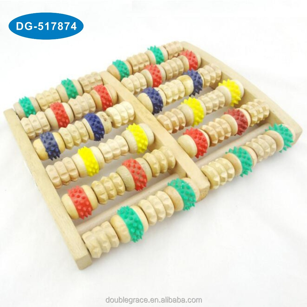 colorful wooden foot roller massager, rolling foot massager, wooden foot massage roller