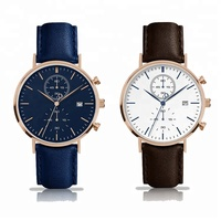 Watch Chronograph Japan Movement Quartz Customized Personalized Wrist Watch With Leather Strap