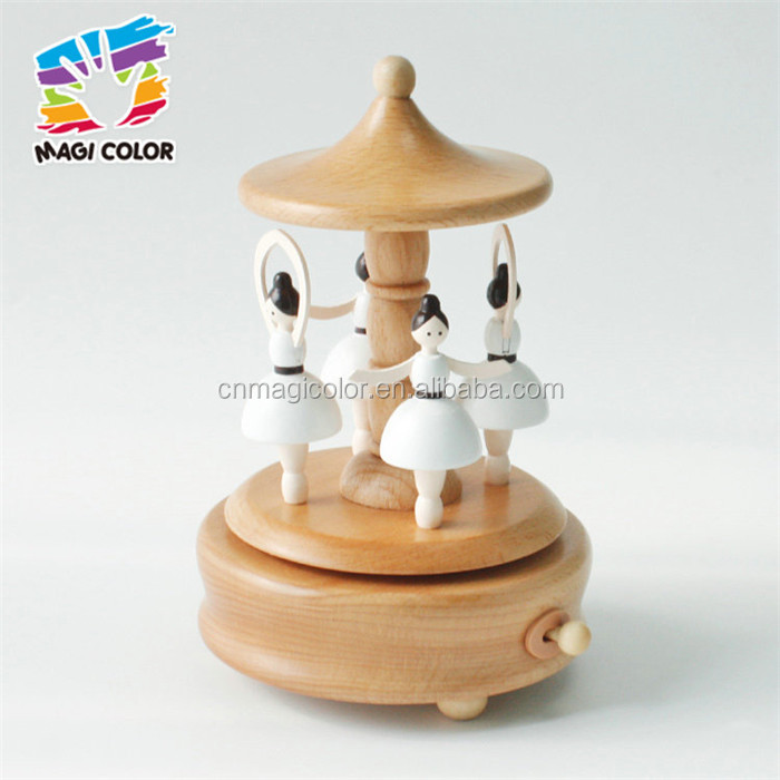 Wholesale girls toys wooden dancing music box handmade kids fancy wooden dancing music box W07B056
