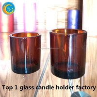 Big amber colored glass candle jars for 3 wick candle