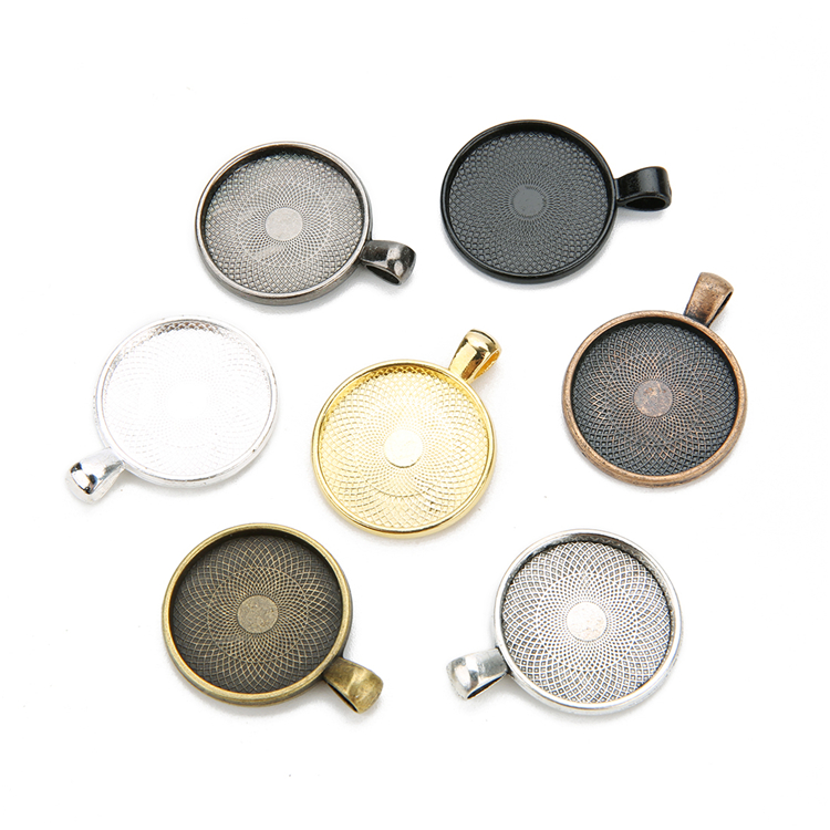 Hot sell 25mm antique silver alloy floating pendant tray blank tray gold cabochon base for necklace jewelry making