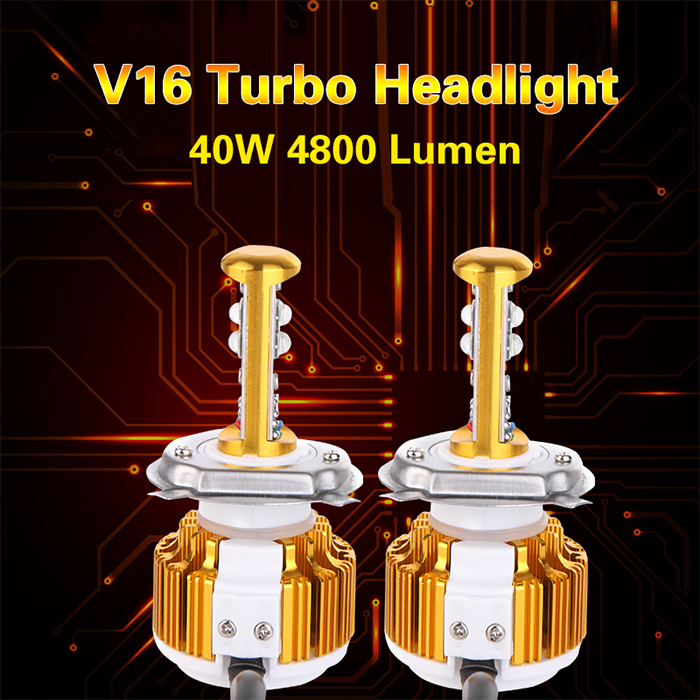 Factory Supply Automobile&Motorcycles Car Led <strong>CREEs</strong> XHP50 LED headlight 40w 4800lm yellow color hi/lo V16 auto headlight kit H4