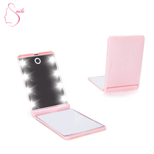 Hot Pocket 2 Sides 10X Magnifying Compact Folding LED Makeup Mirror With Lights