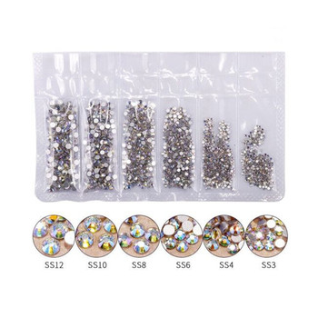 Popular A Level Quality Mixed Different sizes glitter Nail Rhinestones 3D Crystal Nail art Stone