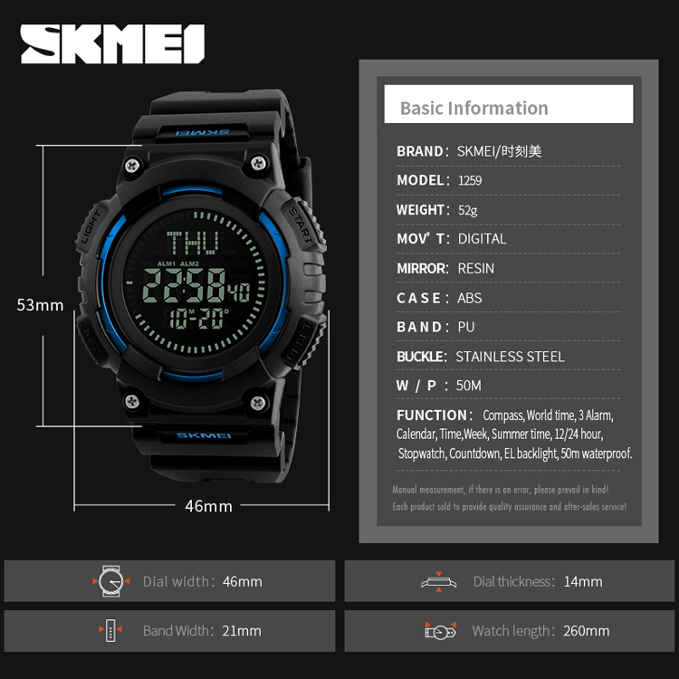 Men's Watches Outdoor Sports Digital Watch Compass Temperature Weather Electronic Watches Luxury Men Multifunction Military Wristwatches Watches