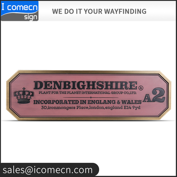 High Quality Decorative Custom Logo Brass Metal Adhesive Plaque