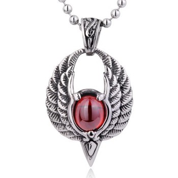 New design antique silver mens angel wings pendant with red gemstone new design antique silver mens angel wings pendant with red gemstone pendant mozeypictures Choice Image
