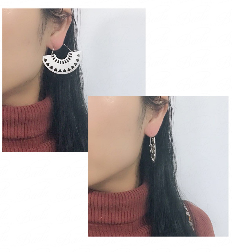 HTB1D R9gH I8KJjy1Xaq6zsxpXar - Badu Big Hollow Hoop Earring Semi-circle Vintage Declaration Ethnic Earrings Geometry Fashion Jewelry Punk Girl
