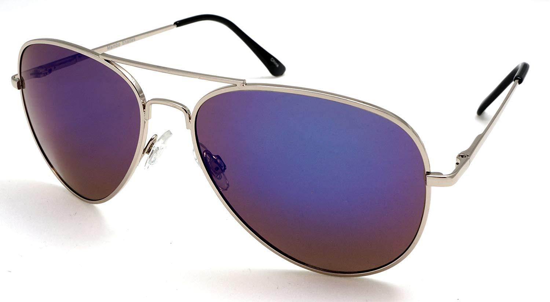 d64b117763e4 Get Quotations · Unisex Mirror Lens Classic Military Pilot Sunglasses -  Cecilia   Aragon Mambo Fliers
