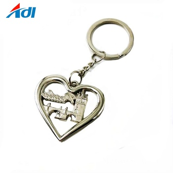 Free sample heart shape custom logo nickel plating keychain