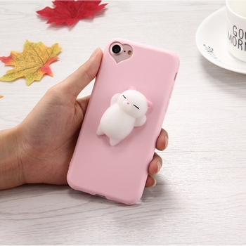 54935b1670 Online Shipping animal Phone Case 3D Little Bear Pink Ears Soft Silicone  Case For iPhone 7