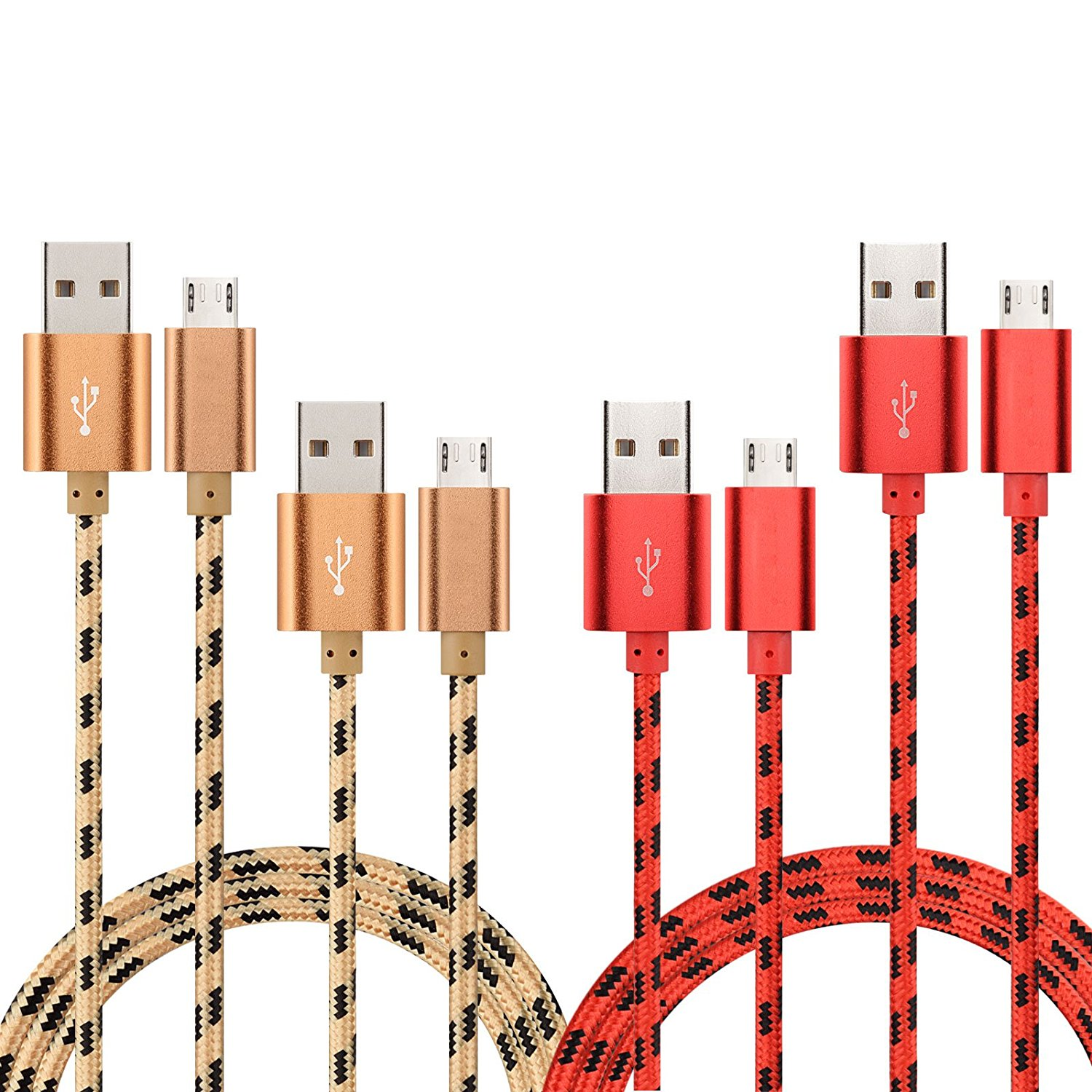 TOPSELL Micro USB Cable, 4Pack, 3.3ft/1m + 4.9ft/1.5m, Nylon Braided High Speed USB to Micro USB Charging Cables Android Charger Cord for Samsung, Nexus, Motorola,HTC, LG, Tablet and More (Gold, Red)