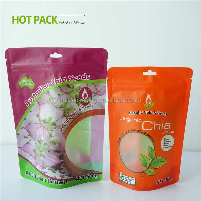stand up ziplock matte food packaging condom printed customized bag with zipper