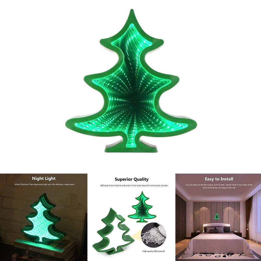 OurLeeme Christmas Tree 3D Tunnel Night Light, Infinity Mirror Light LED Kids Night Light for Christmas Tree Bedroom Bedside Lamp ABS, Acrylic Material AA Battery Powered (Tree)