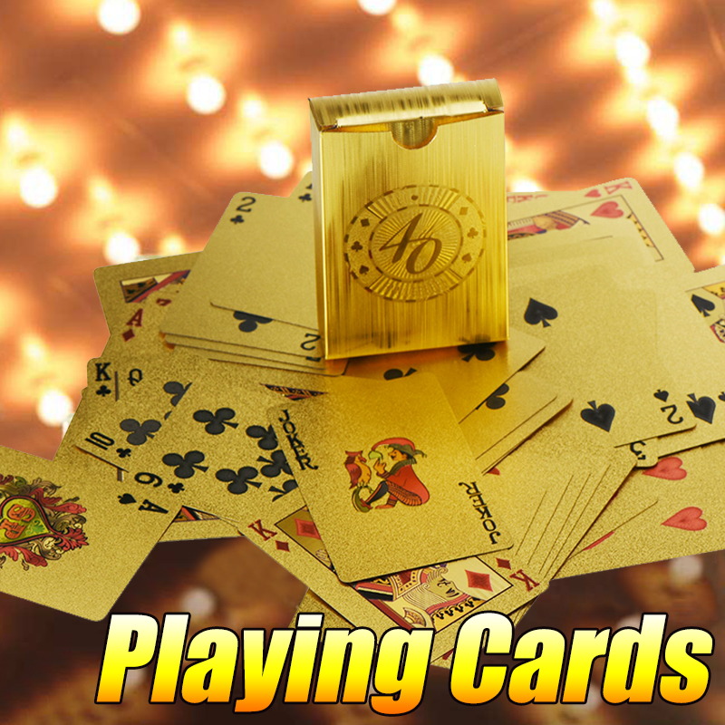 Poker Cards Waterproof Gold Magic Playing Cards Game Gift 88*57 mm for Fun