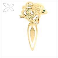 Cute Gold Plated Metal Ram Chinese Zodiac Bookmark