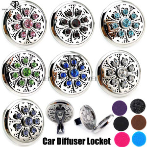 New Silver Lotus (38mm) Magnet Diffuser Stainless Steel Car Aroma Locket Free Pads Crystals Essential Oil Car Diffuser Lockets