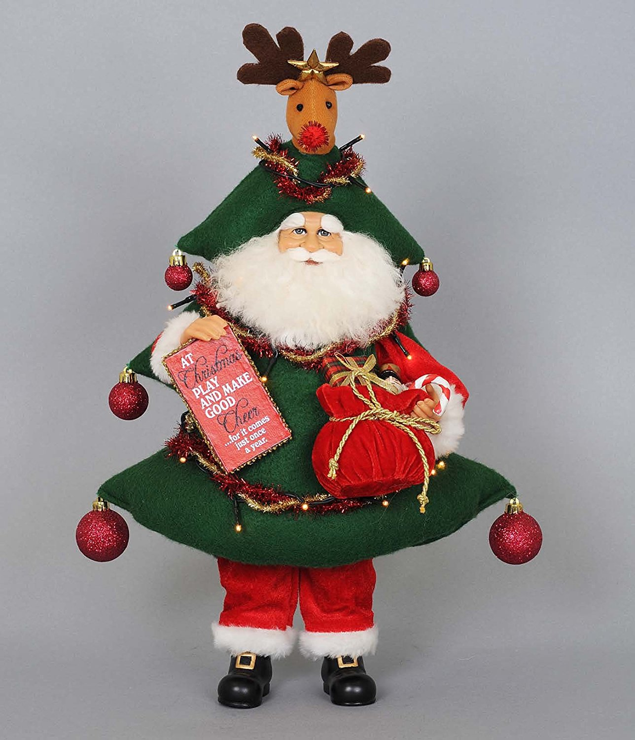 get quotations kensington row christmas collection clearance sale christmas decorations lighted christmas tree santa with rudolph