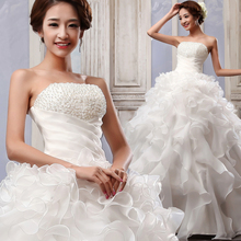 Glamorous 2016 New Arrival Strapless Beaded Ball Gown Wedding Dress Vestido de novia Lace Up Court Train Bridal Gown