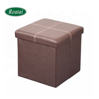 Reatai factory price foldable storage ottoman stool with pvc