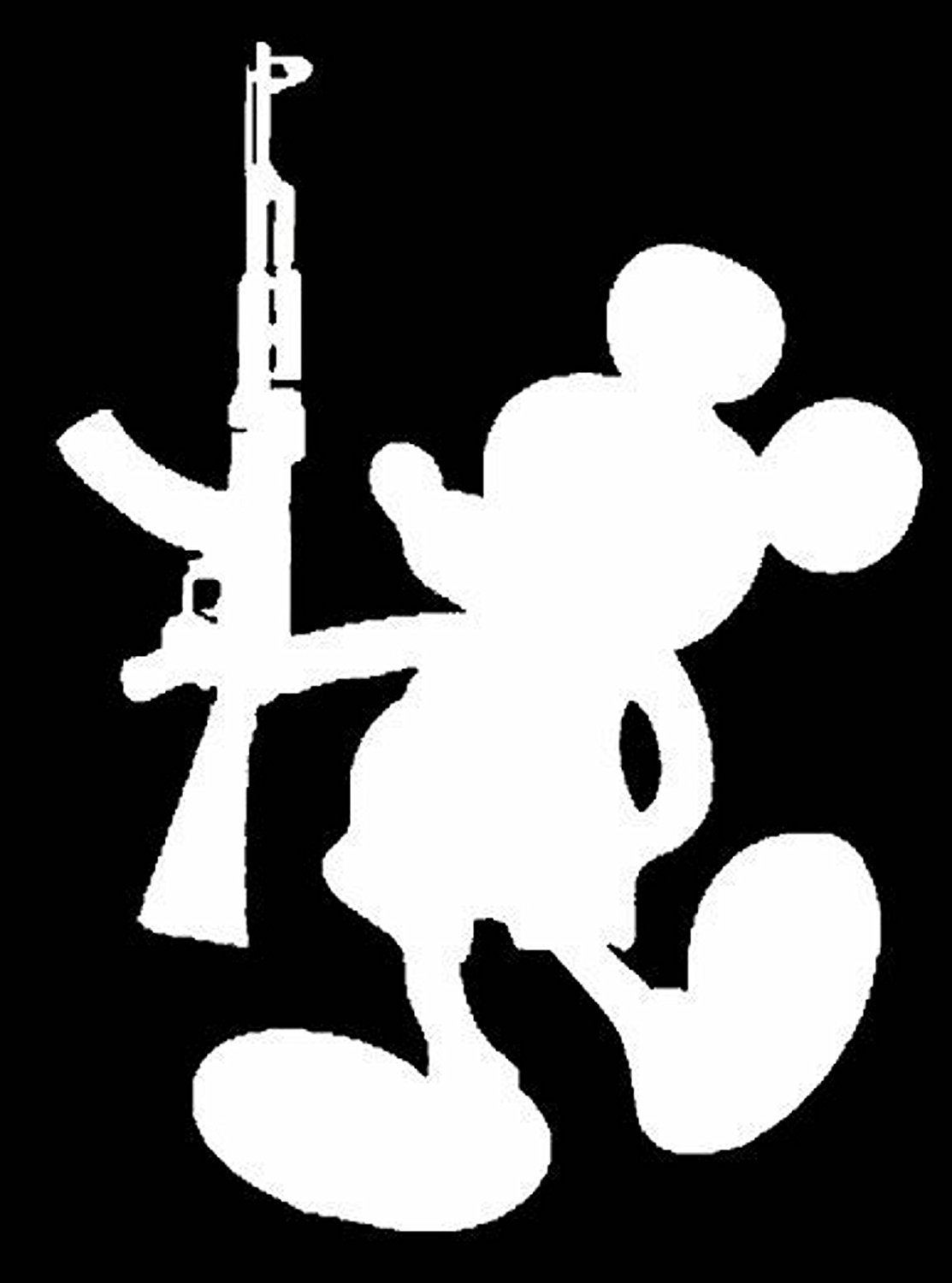 Mickey mouse with ak 47 gun vinyl sticker decal bumper window funny humor stick family