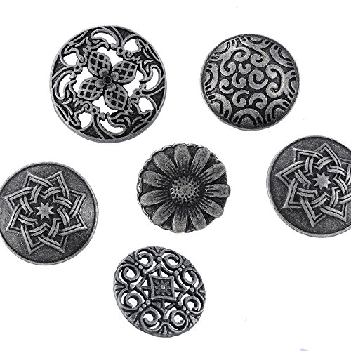 50Pcs Mixed Silver Tone Carved Sewing Shank Metal Buttons For Jeans Clothing DIY Scrapbook Decorative Crafts 17-23mm