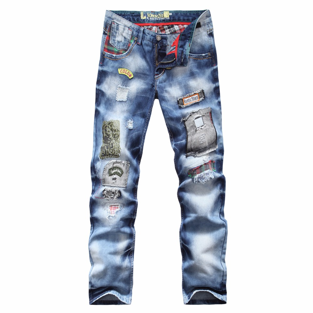 Clothing manufacturer patch embroidery back pocket jeans new men's straight trousers blue
