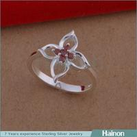Elegant red Stone Crystal Ladies flower Ring From China