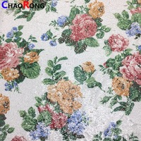 CRF0483 Fashion Embroidery Mesh Fabric Digital Printing Sequin Fabric