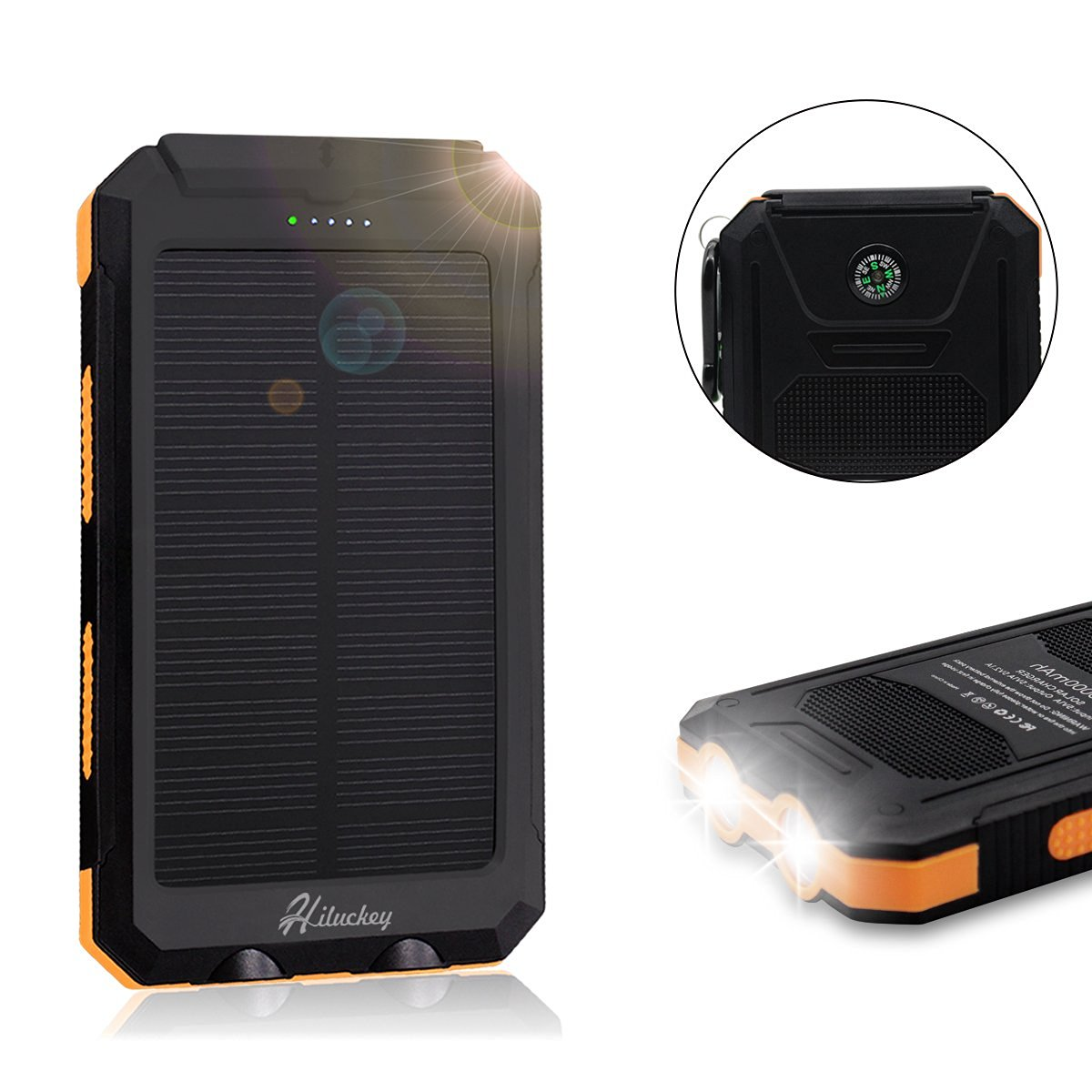 Hiluckey Solar Charger, Solar External Battery Pack, Portable 10000mAh Dual USB Solar Battery Charger Power Bank Phone Charger with LED Portable Solar Phone Charger for Phones