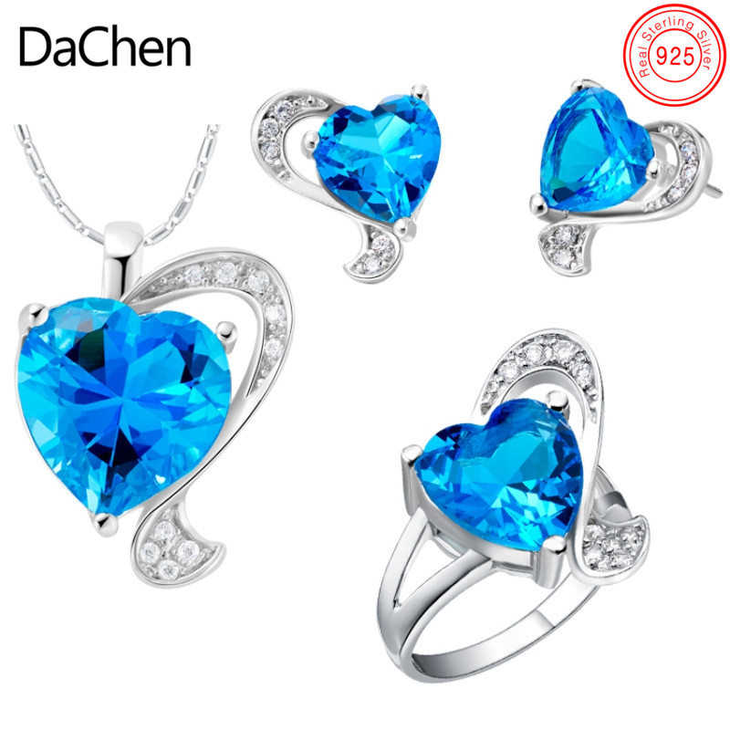 Beautiful S925 2018 Heart Blue Gemstone Indian Royal Bridal Jewellery Set
