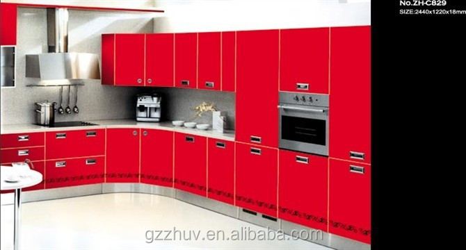 red spray painted kitchen cabinets ideas MDF base board kitchen cabinets made in China