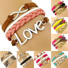 Yi Wu Luxury Eiffel Tower Love Charm Multicolored Leather Wrap Bracelets