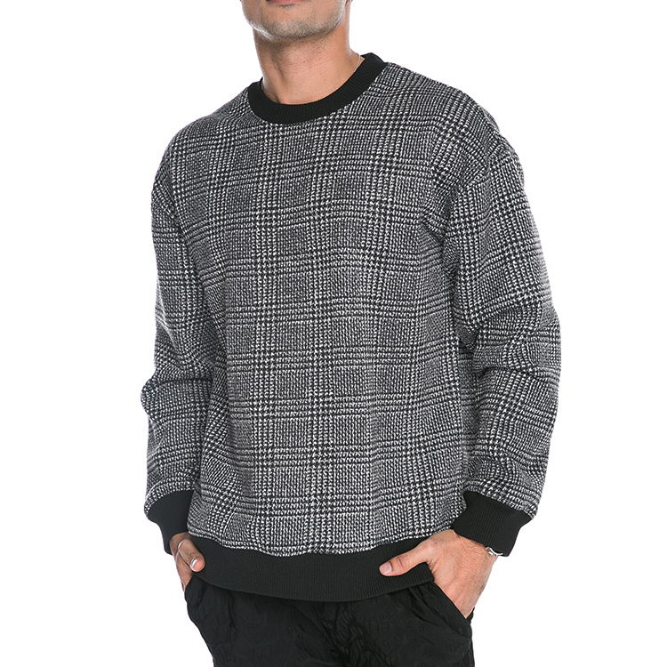 Custom plaid polyester round neck pullover