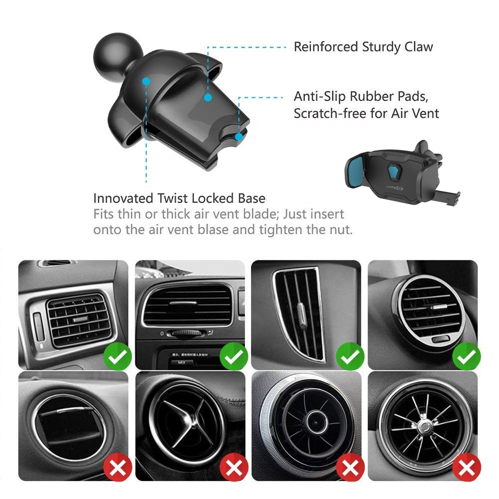 Apps2car universal car bracket air vent clip one touch car cellphone mount phone holder