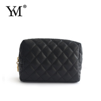 High quality unisex quilted black PU cosmetic bag zipper pouch