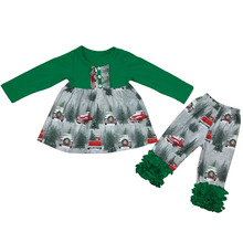 Christmas high quality children clothing clothing sets black tops and fancy skirts baby girl outfits