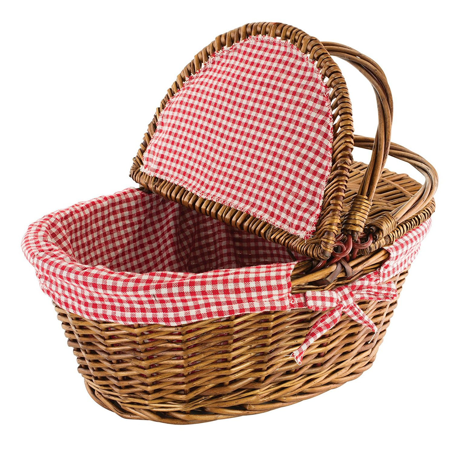 """Kovot Country Style Wicker Picnic Basket with Folding Handles & Liners 