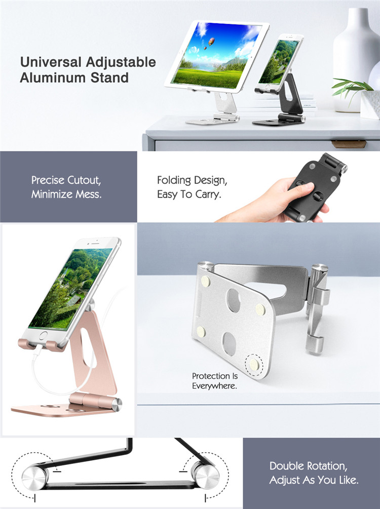 MoKo Foldable Phone/Tablet Stand,Universal 210 Degree Adjustable Aluminum Desktop Holder for S9 for iPad Pro 10.5
