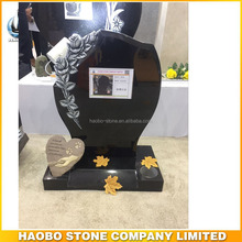 Upright Black Granite Rose Flower Carving Tombstone Gravestone
