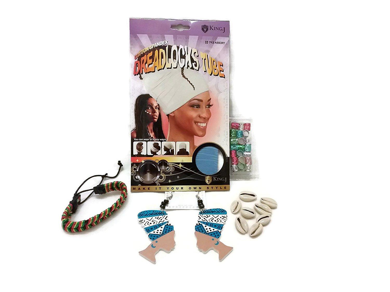King.J Cotton Spandex Dreadlocks Tube, Head Wrap Earrings, Multi-Color Metal Hair Cuffs, Sea Shell Hair Beads & Drawstring Bracelet Bundle (5 items) - (Sky Blue)